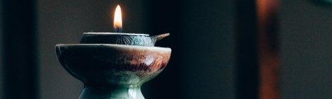 Single candle burning